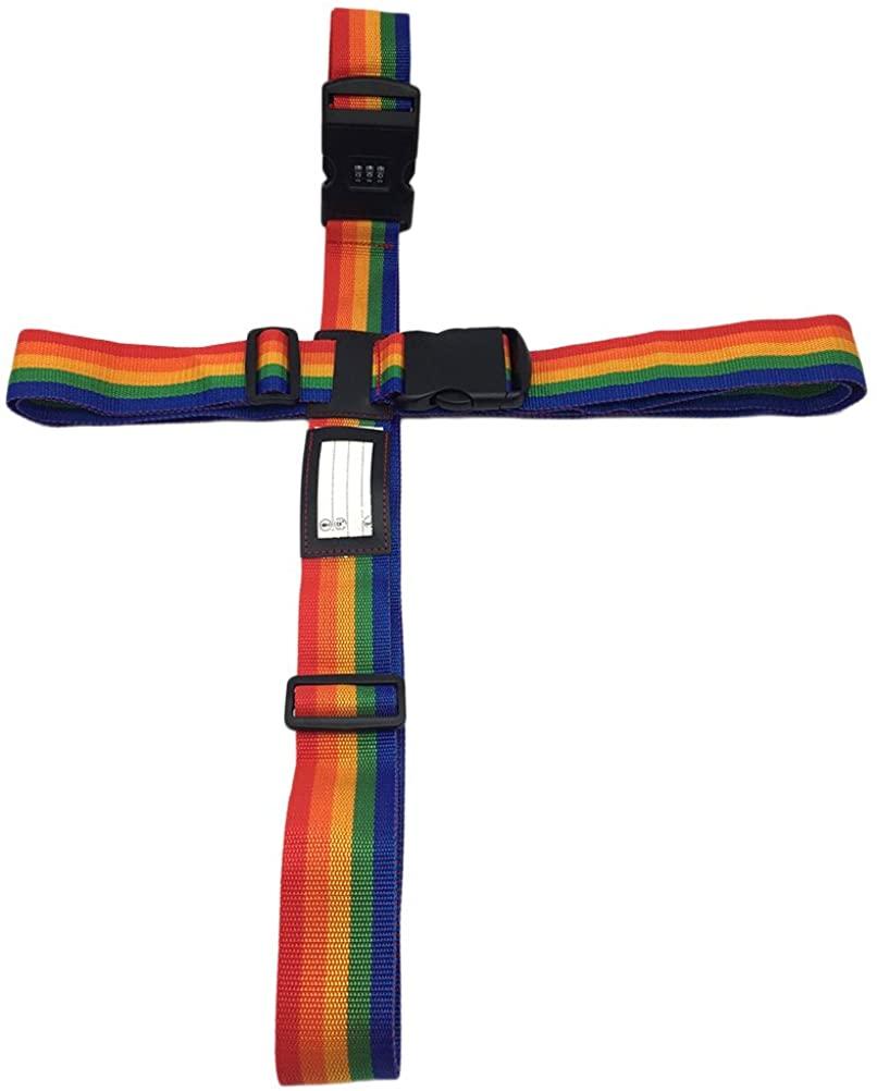LUOEM Luggage Straps Adjustable Cross Suitcase Travel Belt with Lock 2M+2.2M (Rainbow)