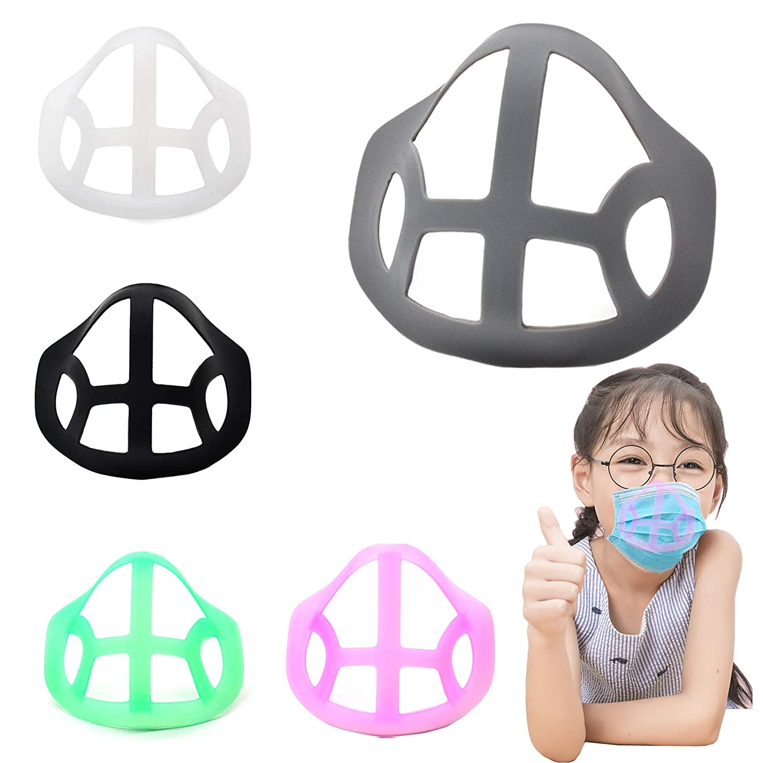 3D Child Silicone Mask Bracket Ver2.0, [Food-Grade] High Temperature Resistance, Nternal Support Holder Frame Nose Breathing Smoothly, Ultra-Light and Comfortable,Specially Designed for Kid.