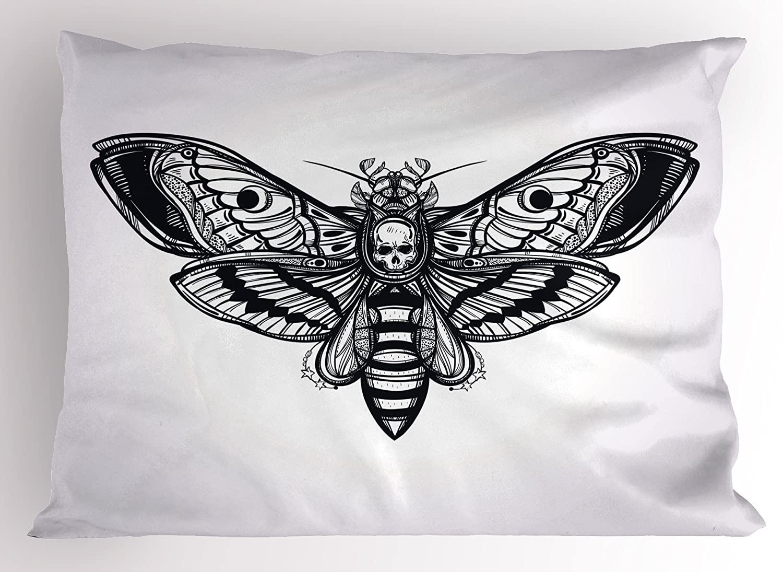 Lunarable Skull Pillow Sham, Dead Moth with Skull Face in Gothic Grunge Style Dark Butterfly Inner Self Journey, Decorative Standard Size Printed Pillowcase, 26