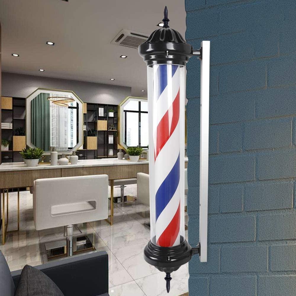 "DYRABREST 41"" Classic Barber Shop Pole Light Red White Blue Rotating Light LED Stripes Pole Light Hair Salon Sign Wall Mount Rotating Light"
