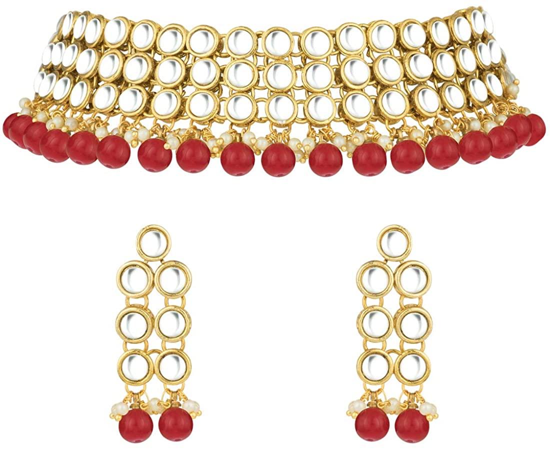 Aheli Faux Kundan Beaded Necklace Dangle Earrings Indian Wedding Ethnic Jewelry Set for Women