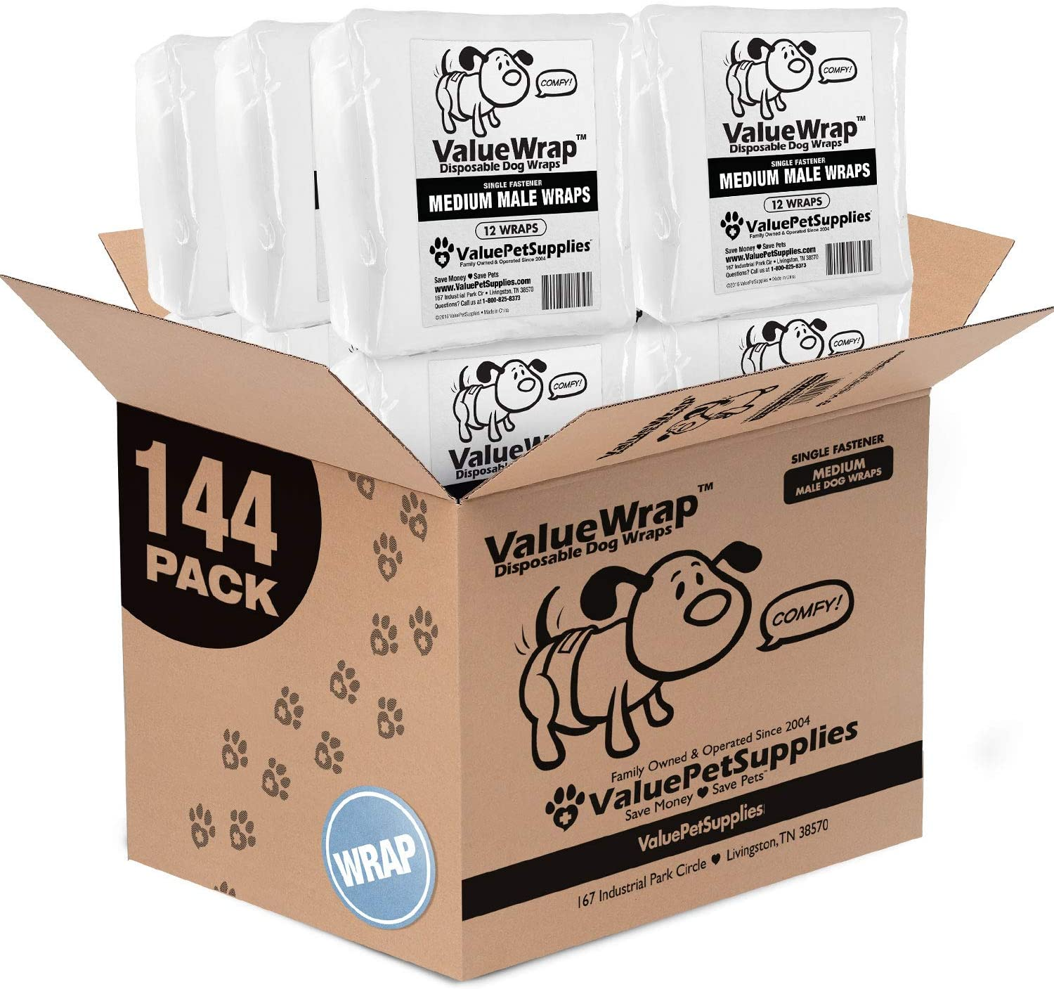 ValueWrap Disposable Male Dog Diapers, 1-Tab, 144 Count - Male Wraps, Snag-Free Fastener, Leak Protection, Wetness Indicator