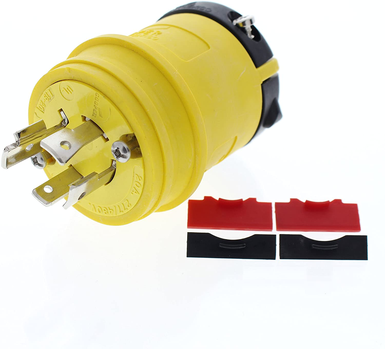 Cooper Wiring Devices L1920PY Plug Ins 20A 277/480V 3PH 4P4W H/L YL