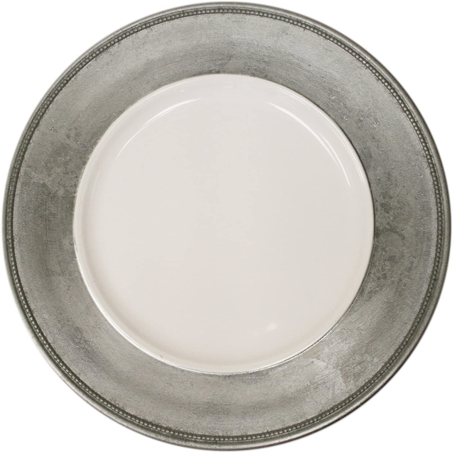 Silver Rim with White Center Charger Plate