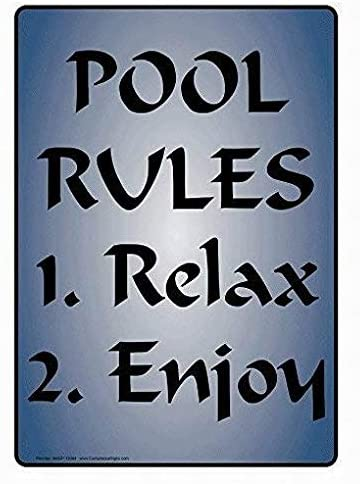 Fsdva Pool Rules 1. Relax 2. Enjoy Sign English Text, Blue Novelty Warning Tin Metal Sign 12x16 Wall Decor Street Sign