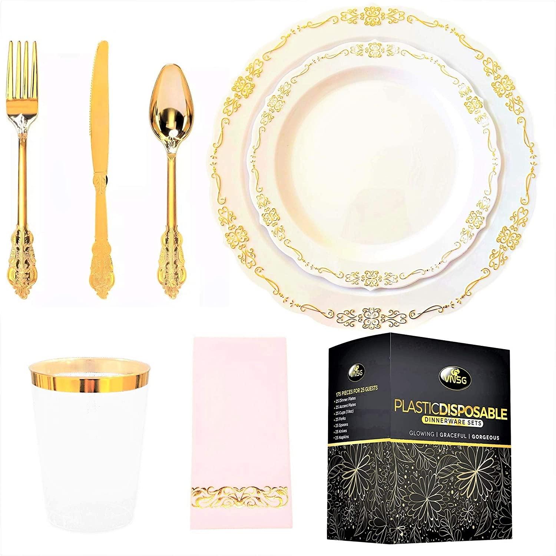VNSG Gold Plastic Plate Set┃175pcs for 25 Guests┃Gold Party Plates┃25 Dinner Plates, 25 Dessert Plates, 25 Cups (10oz), 25 Forks, 25 Spoons, 25 Knives, 25 Napkins (Vintage Gold)