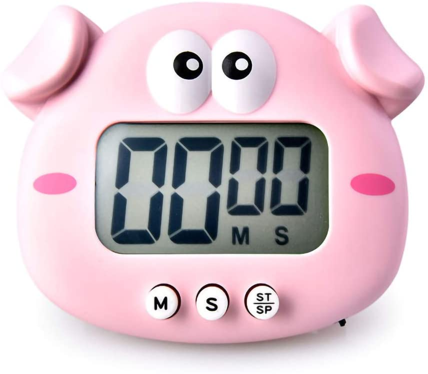 Digital kitchen timer electromagnetic loud alarm clock, large LCD screen mute/buzzer multifunctional cartoon shape chicken pig frog for Cooking Magnetic (Pink pig)