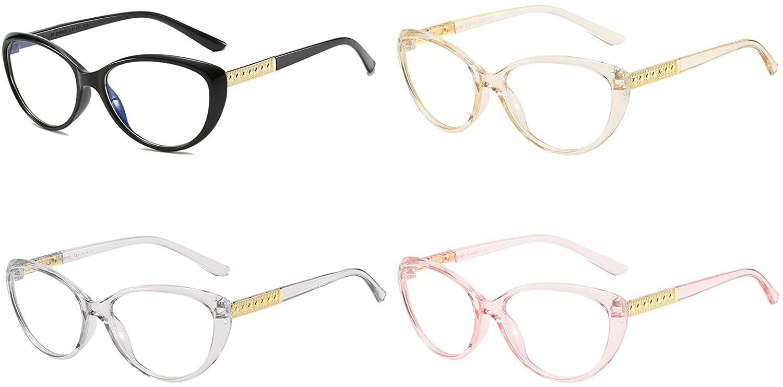 SOOLALA Ladies 4-Pack Blue Light Blocking Lens Cat Eye Reading Glasses for Women