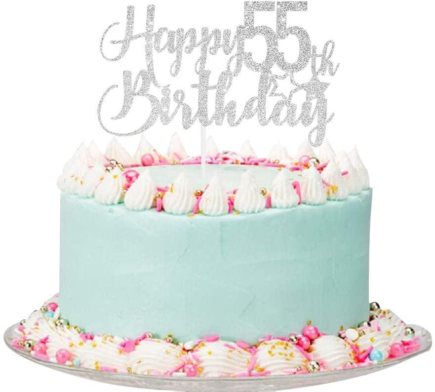 Silver Glitter Happy 55th Birthday Cake Topper - 55th Birthday Cake Topper, 55th Birthday Party Decoration