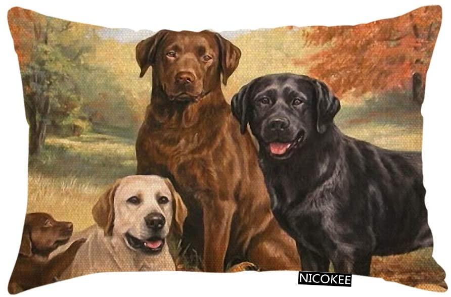 Nicokee Throw Pillow Cover Lovely Labrador Retriever Dog Art Cute Dogs Decorative Pillow Case Home Decor 20x12 Inches Pillowcase