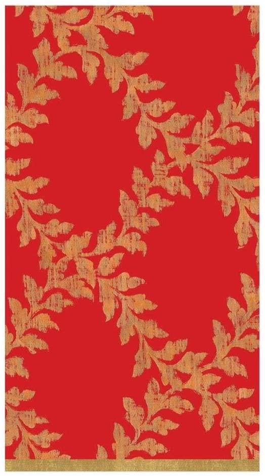 Caspari Acanthus Trellis Paper Guest Towel Napkins in Red, Two Packs of 15