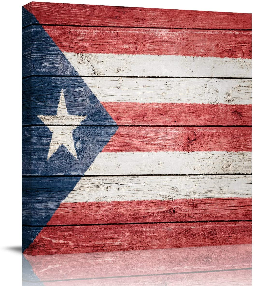 EZON-CH 12x12in Wall Art on Canvas Oil Painting Framed Artwork for Office Home Wall Decor,The Flag of Puerto Rico America Art Prints,Ready to Hang