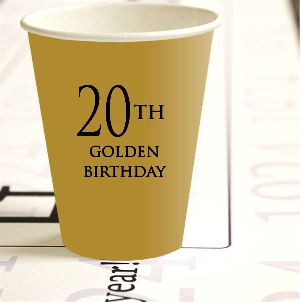 20th Golden Birthday Hot Cold Cups (8/Package) by Partypro