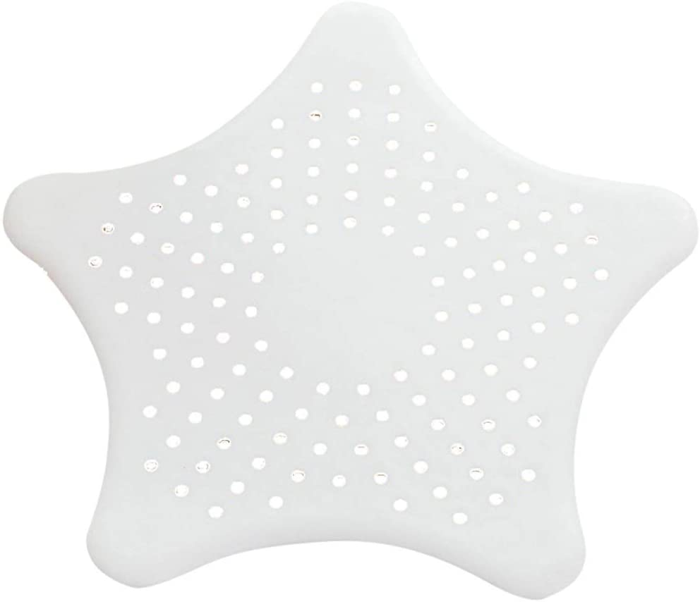 Plastic Sink Strainer - Kitchen Sink Basket Strainers Acrylic Pouring Strainer Sink Drain Stopper Bathtub Drain Hair Catcher Snare and Strainer, Star Shape (Color : White)