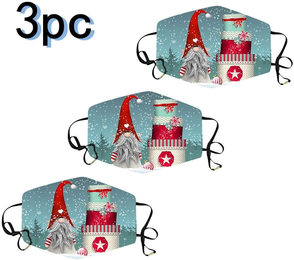 Christmas mask 3D Washable Face Mask Adult Camouflage Breathable Mouth Mask For Indoor Outdoor 3pc