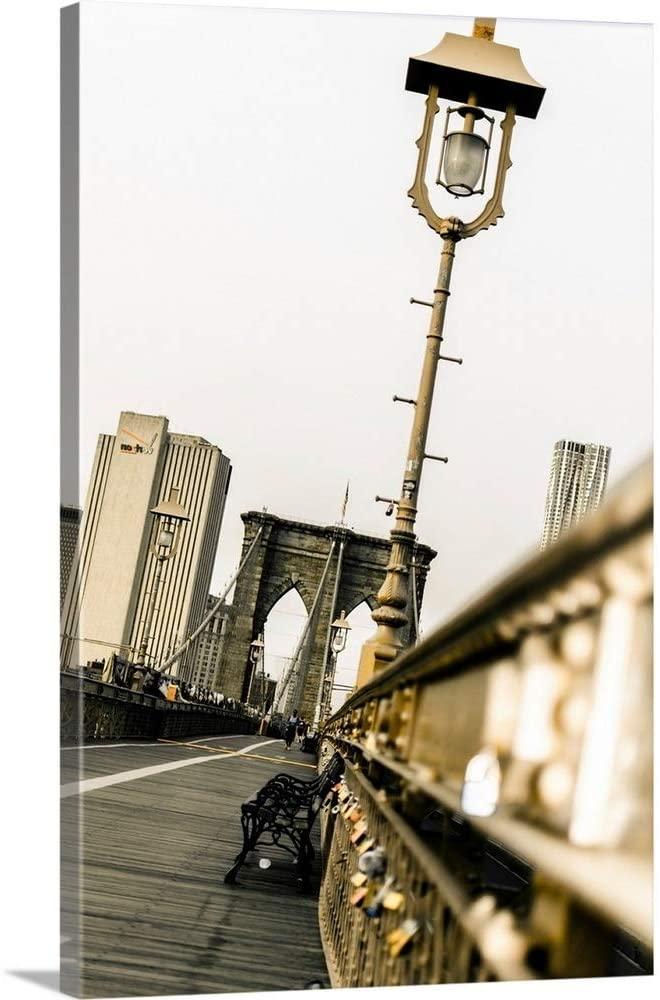 Love Locks On Brooklyn Bridge Canvas Wall Art Print, 40x60x1.25