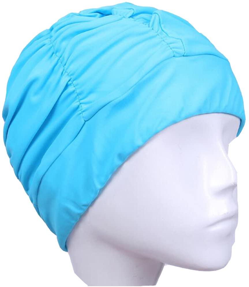 Ewanda store Colorful Pleated Nylon Cloth Swim Cap Large Swimming Cap Hot Spring Bathing Caps for Adult Men Women Long Hair