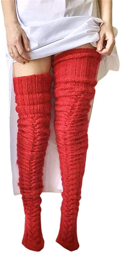 Women's Cable Knit Over Knee High Socks Winter Thick Boot Stockings Extra Long Thigh Leg Warmers Stocking