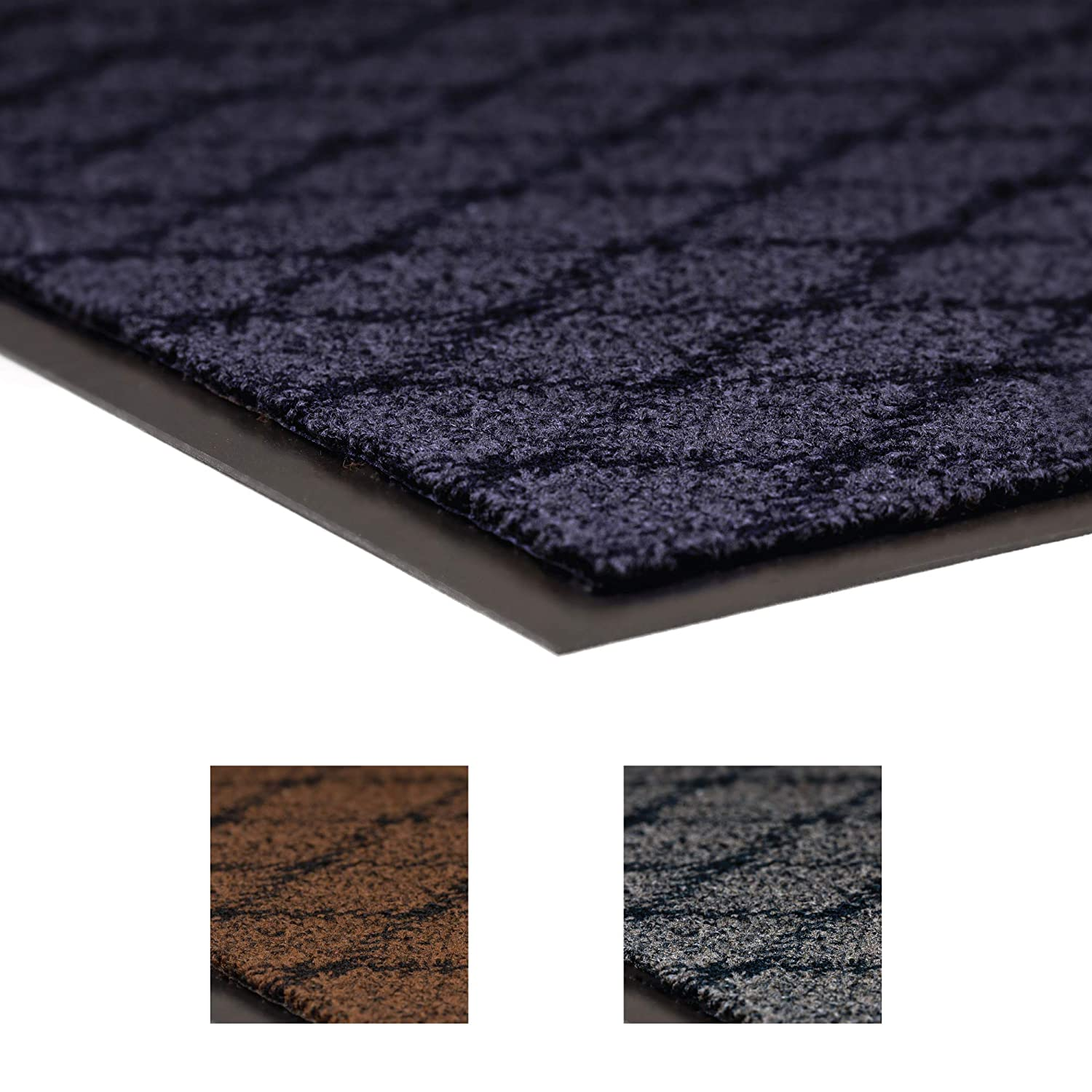 NoTrax 125 Evergreen Diamond Superior Entrance Mat with Vinyl Non-Slip Backing, 3 Width x 5 Length x 3/8 Thickness, Blue