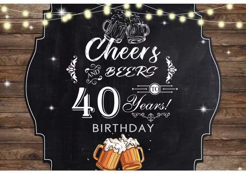 DaShan 5x3ft Polyester Happy 40th Birthday Backdrop Cheers and Beers Cheers Birthday Party Photography Background Women Adult Men Birthday Party Banner Cake Table Decor Portrait Photo Studio Props