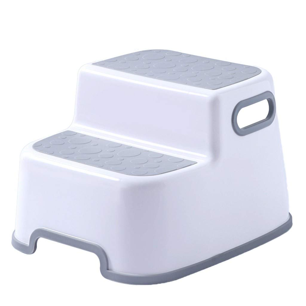 Step Stool for Kids,Childrens Stepping Stool,Toddler Stool with Slip Resistant Soft Grip for Safety as Bathroom Toilet Potty Training Stool and Kitchen Step Stool (Gray)