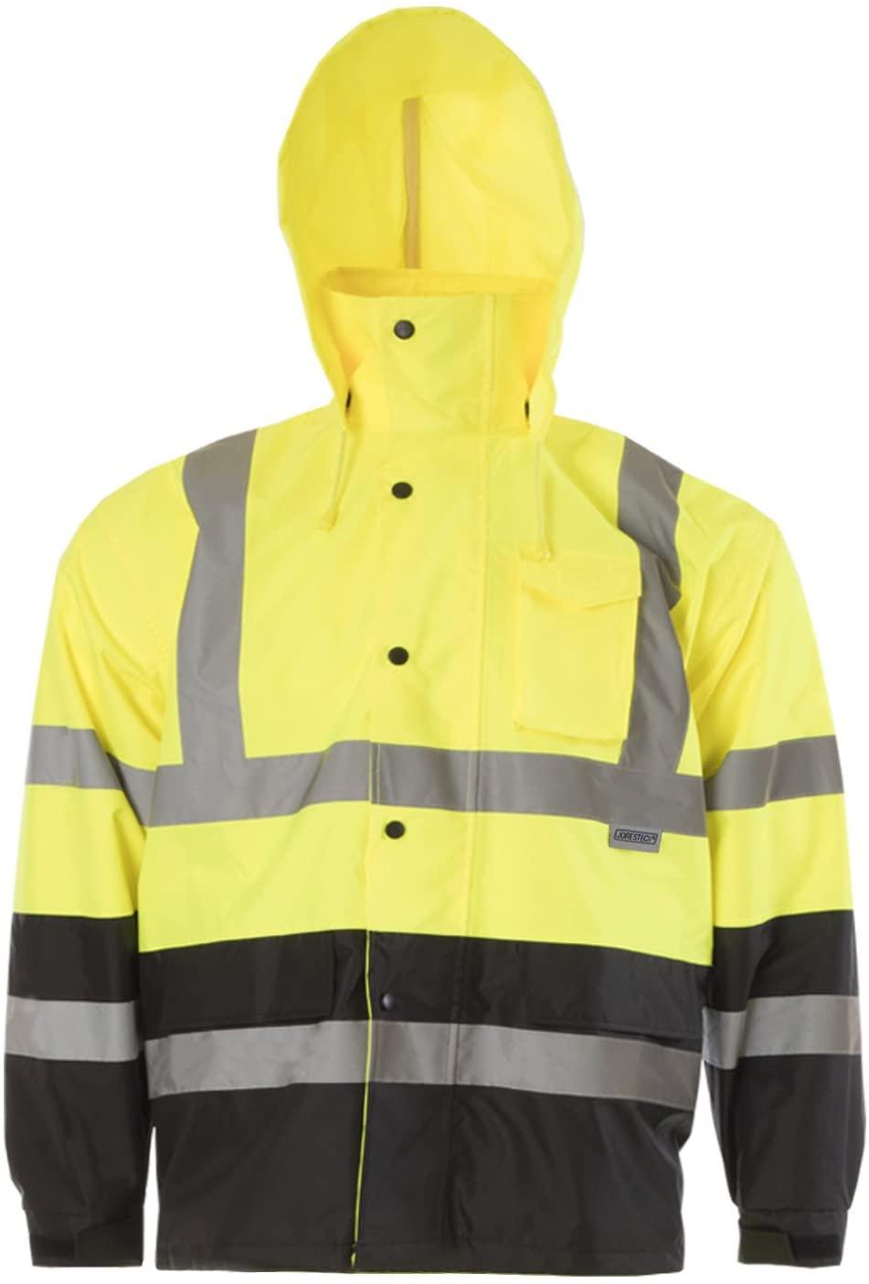 JORESTECH High Visibility Light Weight Waterproof Rain Jacket ANSI/ISEA 107-2015 Class 3 Level 2 Yellow/Black JK-03-YLBK (3XL)