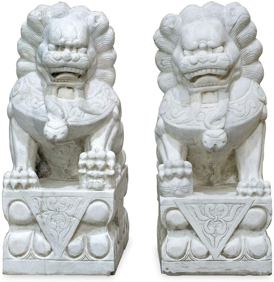 ChinaFurnitureOnline Grand Marble Imperial Palace Foo Dog Oriental Statue Set, Off-White