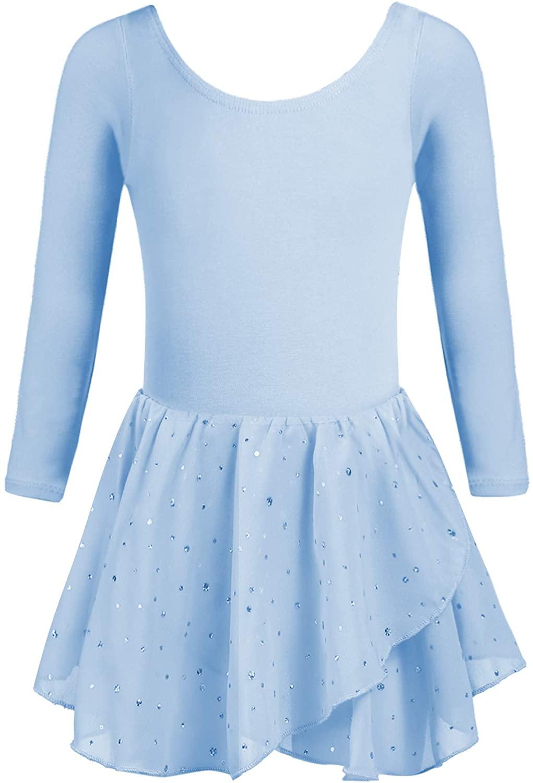 Arshiner Kid Girls Long Sleeve Shiny Ballet Dance Dress Tutu Skirted Leotard