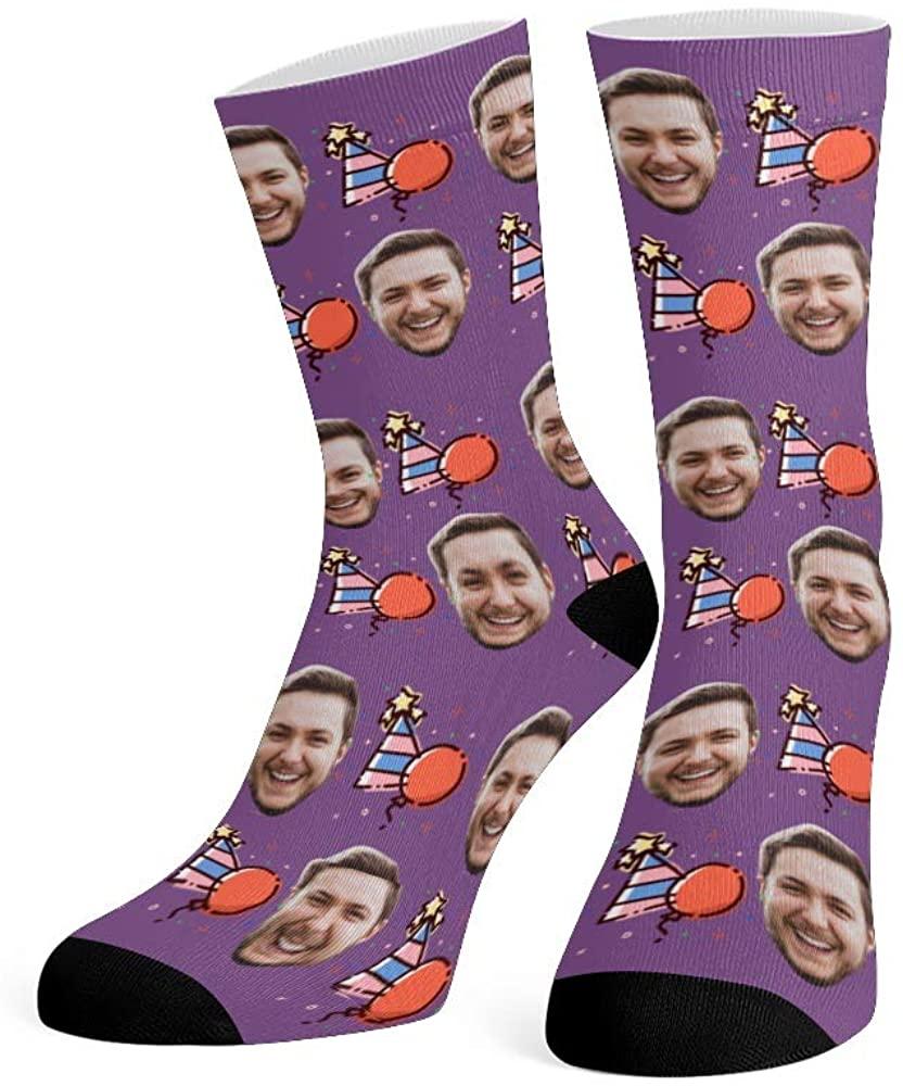 Custom Face Socks with Photo Personalized Print Snowflake Crew Socks for Men Women