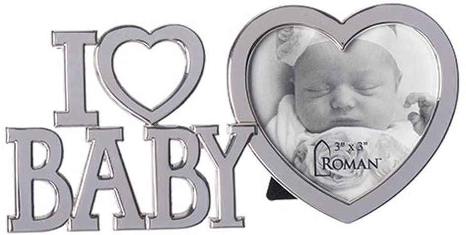 I Heart Baby Cutout Design Polished Silver Tone 7 x 7 Zinc Alloy Photo Frame