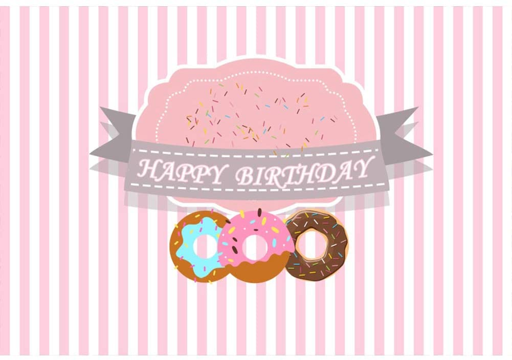 Baocicco 8x6.5ft Pink and White Stripes Happy Birthday Photography Backdrop Background Doughnut Donut PhotoCall Newborn Photography Children Birthday Decorations Supplies Photo Studio Video Props