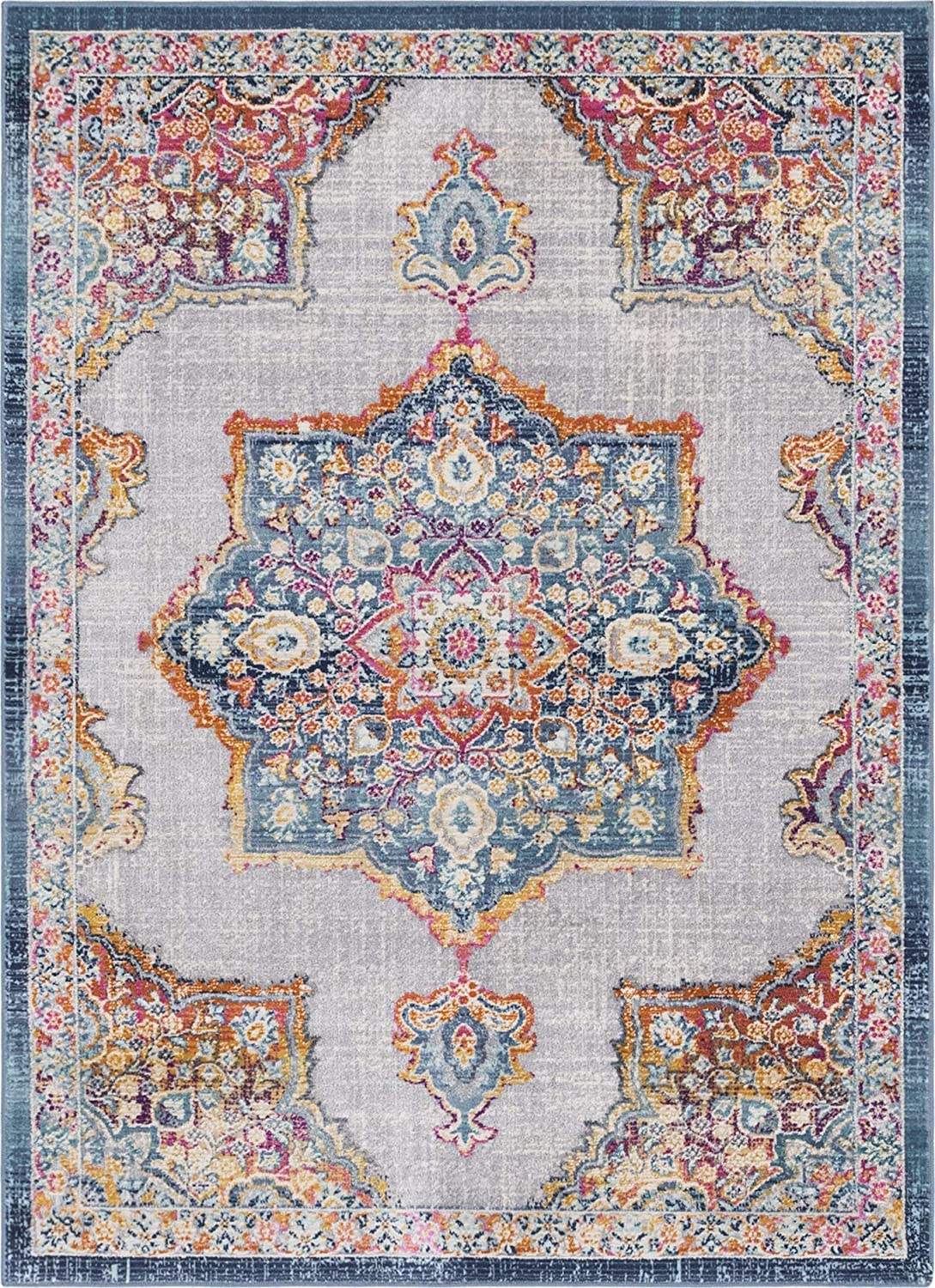 Rugs.com Budapest Collection Area Rug – 4X6 Blue Low-Pile Rug Perfect for Entryways, Kitchens, Breakfast Nooks, Accent Pieces