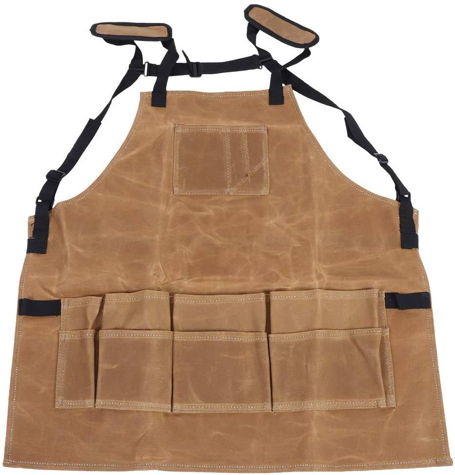 Liineparalle Readywares Waxed Canvas Utility Apron,Multi-Function Waterproof Waxed Canvas Apron Working Tool Aprons for Barbecue Cooking (Tan)