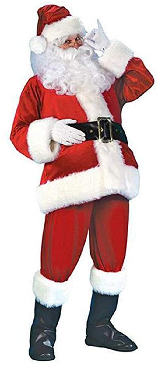 Santa Claus Cosplay Suit Adult Christmas Costume 5Pcs Classic Xmas Holiday Props Clothes
