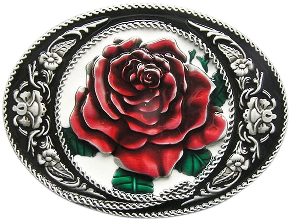 New Vintage Enamel Western Rose Flower Oval Belt Buckle also Stock in US