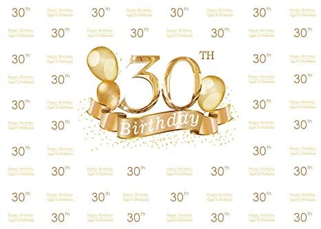 Baocicco 12x8ft Photography Backdrop for 30th Birthday Party Background Happy Birthday Aged to Perfection Golden Balloons Banner Happy 30th Birthday Photo Shooting Props Booth
