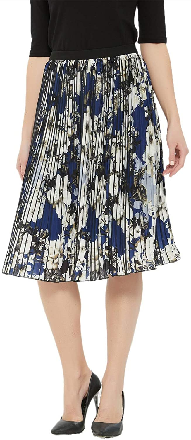 Charis Allure Women's Floral Print Skirt Elastic High Waisted A-Line Pleated Midi Swing Skirts