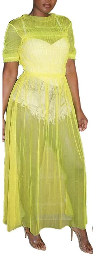 Haloladies Women's Sexy See Through Sheer Mesh Swimsuit Bikini Beach Swimwear Cover up Ruffle Long Maxi Dress Yellow M