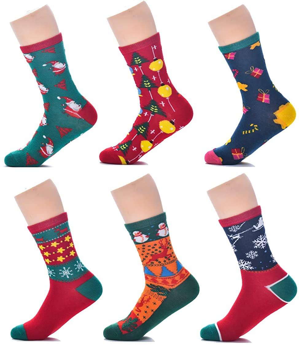 YTAONS 6 Pairs Christmas Socks for Women Winter Warm Holiday Crew Socks for Girl Gift