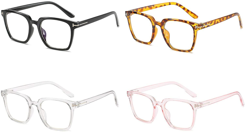 SOOLALA Womens 4 Pairs Mixed Colors Square Frame Blue Light Blocking Lens Reading Glasses