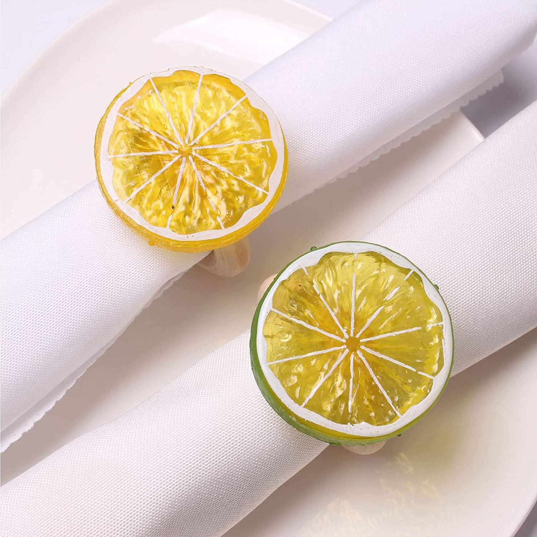 Lemon Slice Napkin Rings Set of 4, Natural Faux Fruit Napkin Ring, Yellow Serviette Buckles Holder for Table Decoration, Wedding, Thanksgiving Day, Daily Use (Lemon Slice)