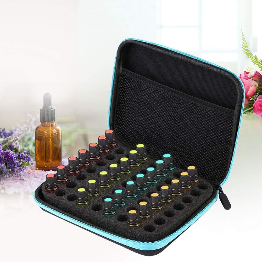 Essential Oil Bag, 63 Slots Portable Aromatherapy Essential Oil Storage Bag, EVA Essential Oil Storage Case Box Organizer(Blue)