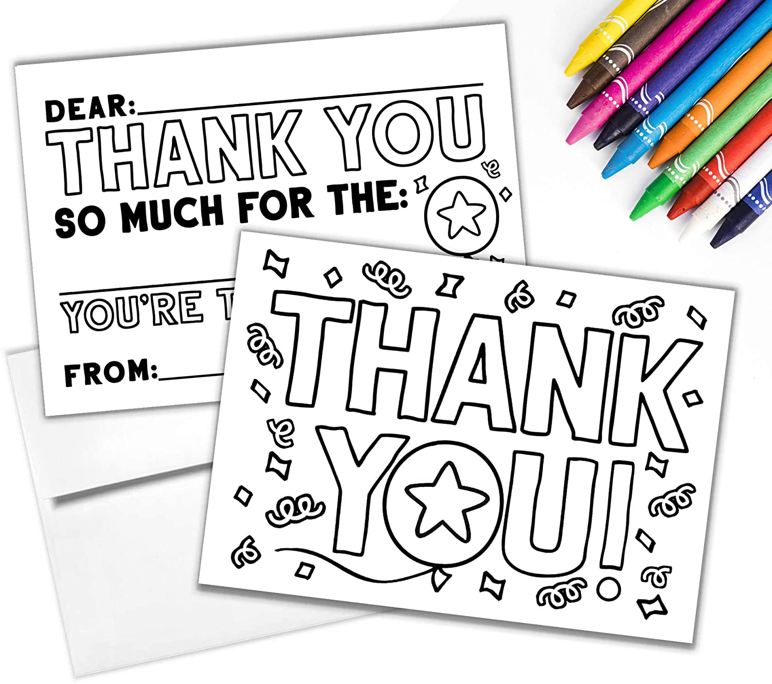 Tiny Expressions - Kid's Coloring Thank You Cards with Envelopes Set (Pack of 10) | Premium Fill in the Blank Double Sided Cardstock Notes | Fun Birthday and Holiday Thank Yous for School and Family