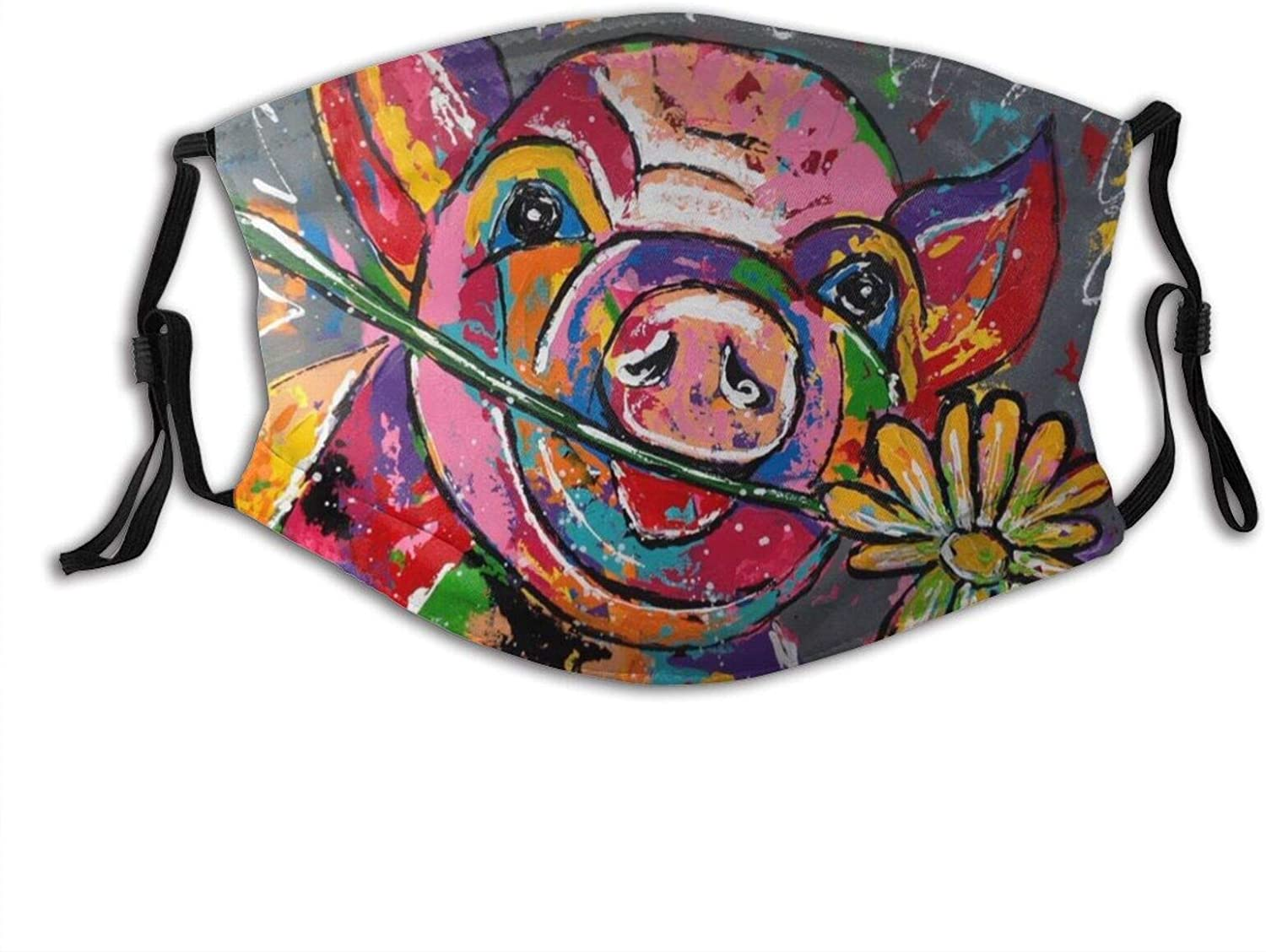 Pretty Flower Held By A Naughty Pig Face Mask With Filter Pocket Washable Reusable Face Bandanas Balaclava With 2 Pcs Filters