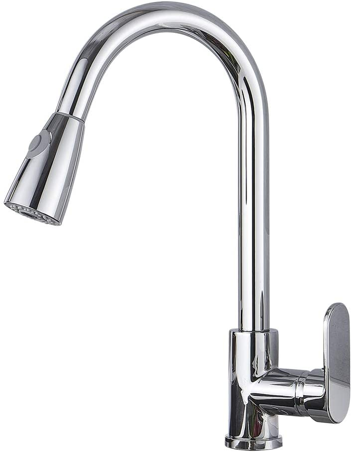Single Level Stainless Steel Kitchen Sink Faucets with Pull Down Sprayer, Single Handle High Arc Brushed Nickel Pull Out Kitchen Faucet