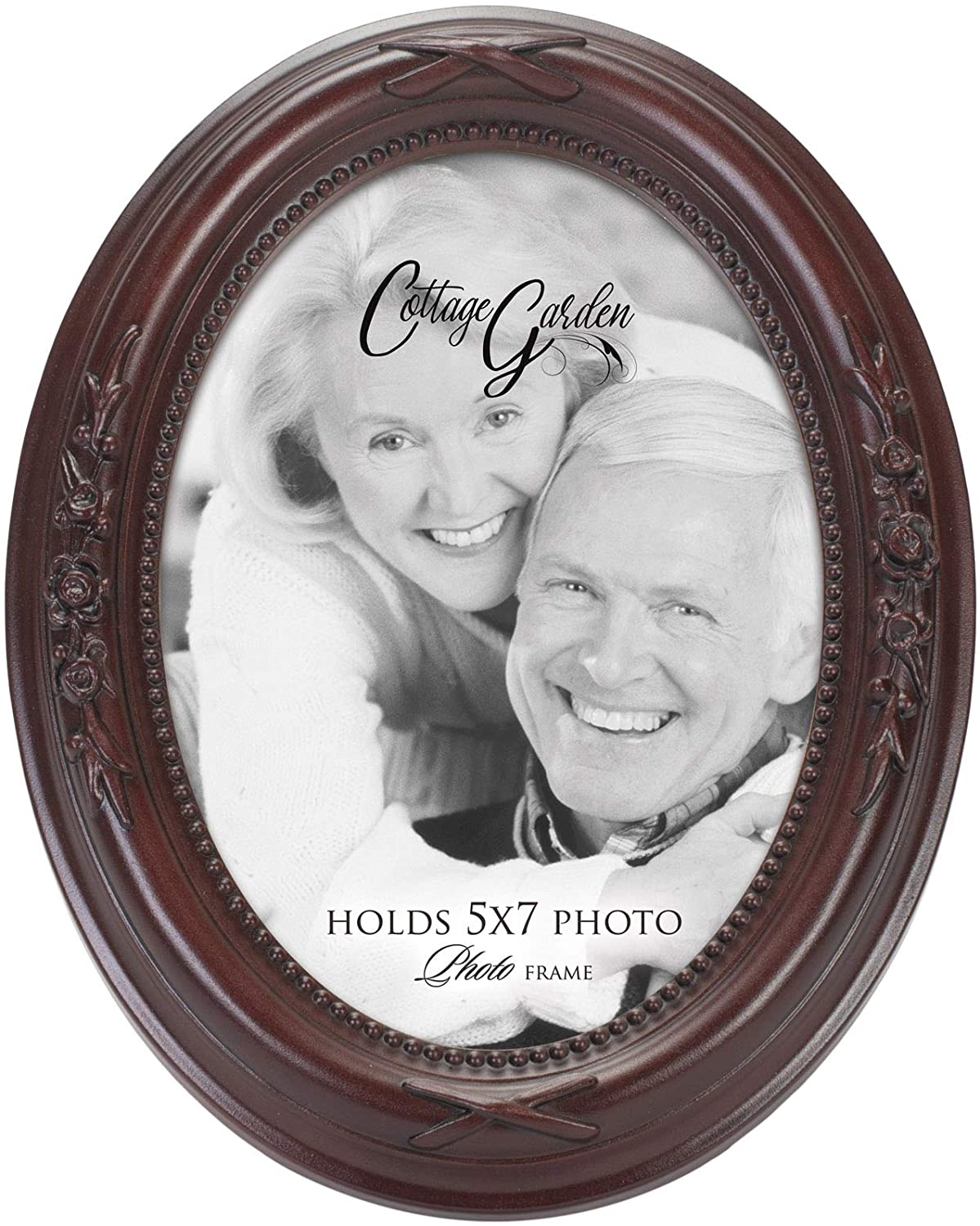 Cottage Garden Add Your Own Personal Photo Mahogany Finish Floral 5 x 7 Oval Table and Wall Photo Frame