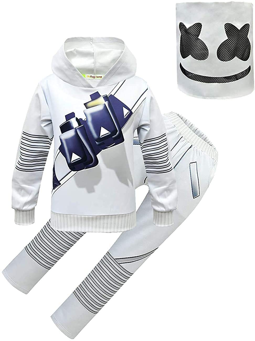 Kids Halloween Cosplay Costume Hooded Sweatshirt, 3PCS DJ Music Outfit Fashion Hoodies Sets Conclude Mask