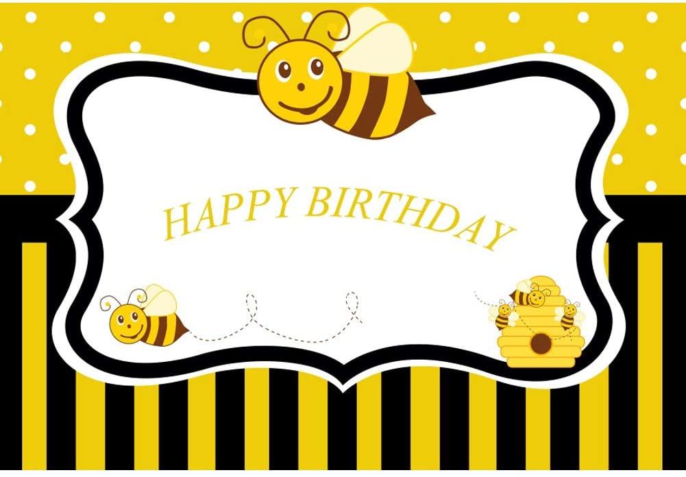 Yeele 10x6.5ft Happy Birthday Backdrop Cartoon Yellow Little Bee Hive Stripe Background Birthday Party Decoration Banner Kids Boy Girl Photo Booth Shoot Vinyl Studio Props