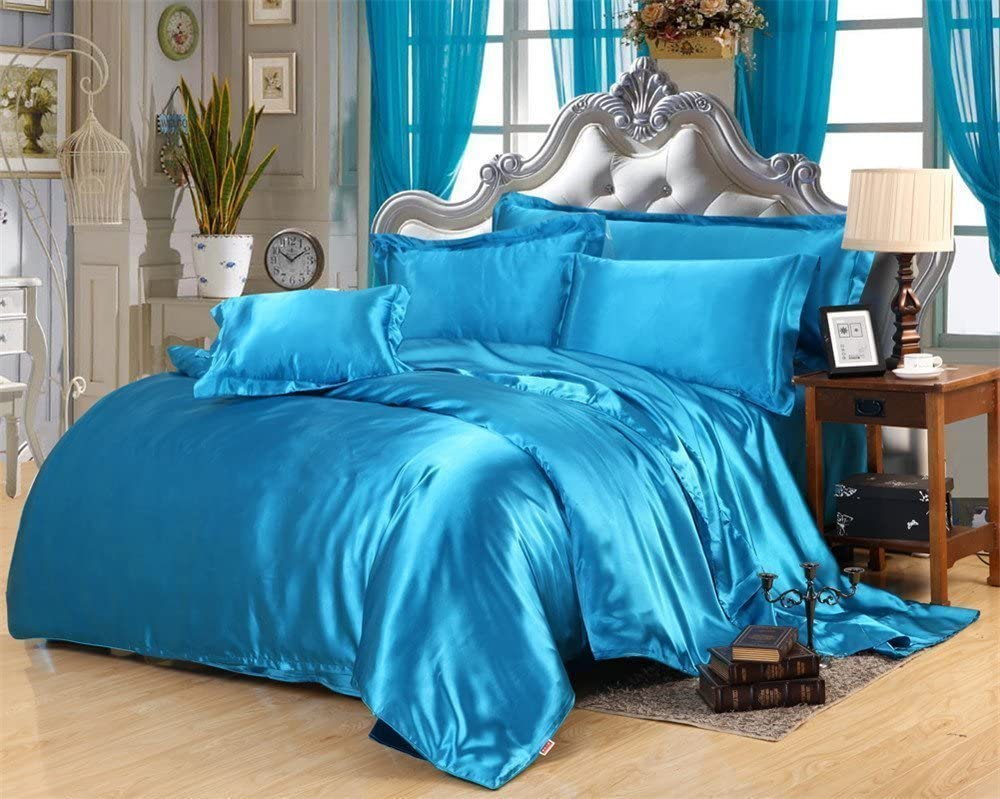 Hotel Luxury Ultra Soft Silky Satin 4 Piece Duvet Set with Fitted Sheet 15