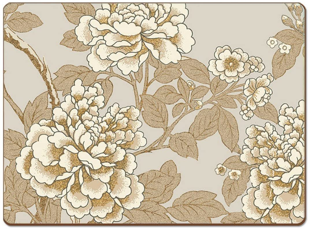 Cala Home 4 Premium Hardboard Placemats Table Mats, Golden Peonies